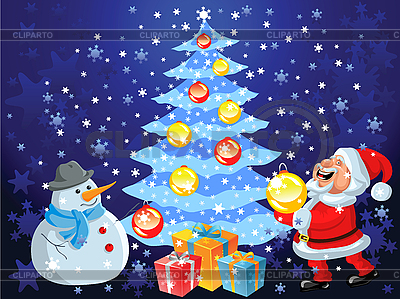 Happy Santa Claus and snowman decorate the Christmas tree | Stock Vector Graphics |ID 3081896