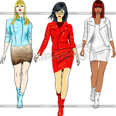 Fashion girls in the leather suits | Stock Vector Graphics |ID 3090746