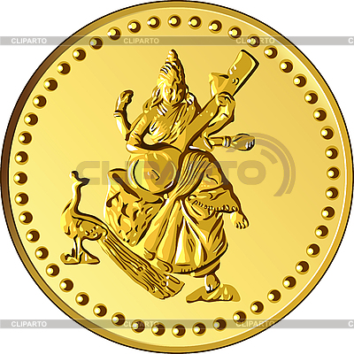 Gold coin with the image of Shiva | Stock Vector Graphics |ID 3093434