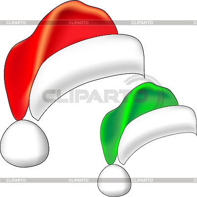 Red and green Christmas hats | Stock Vector Graphics |ID 3093436