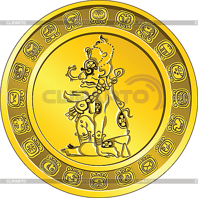 Gold coin with Mayan deity and the hieroglyth | Stock Vector Graphics |ID 3094787