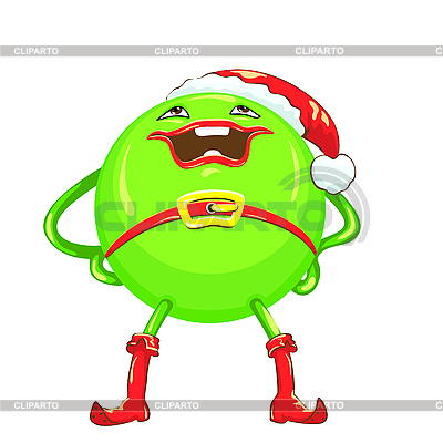 Cartoon round smiling green Christmas character | Stock Vector Graphics |ID 3103662