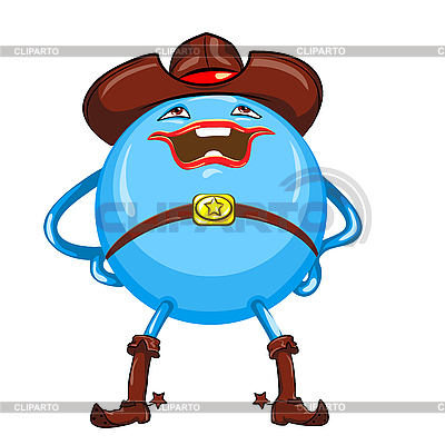 Cartoon round smiling blue cowboy | Stock Vector Graphics |ID 3103666