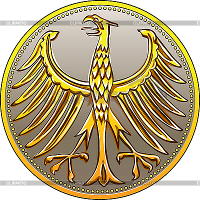 German gold coin with heraldic eagle | Stock Vector Graphics |ID 3110311