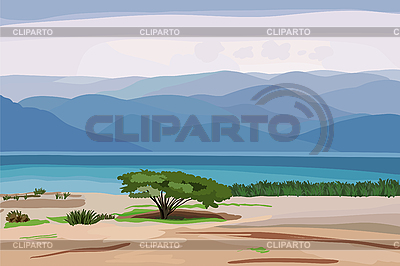 Landscape with tree and mounts | Stock Vector Graphics |ID 3113184