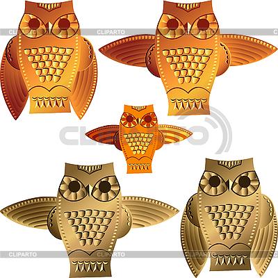 Zestaw dekoracyjnych sowy | Klipart wektorowy |ID 3113229