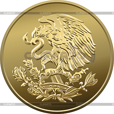 Mexican coin with the national emblem | Stock Vector Graphics |ID 3120834