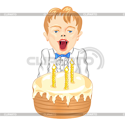 Boy with cake | Stock Vector Graphics |ID 3121842