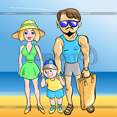 Young married couple with toddler at the sea   Stock Vector Graphics  ID 3124276