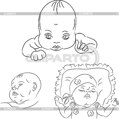 Set of the baby sketches   Stock Vector Graphics  ID 3124519