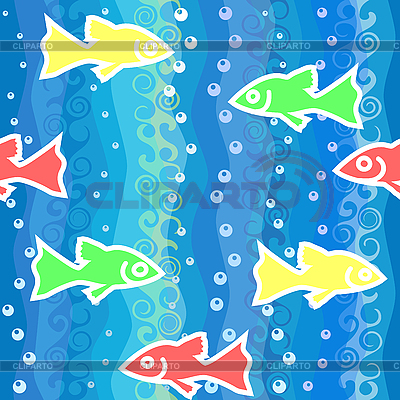 Seamless background with waves and colorful fish   Stock Vector Graphics  ID 3126623
