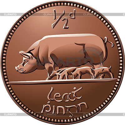 Irish halfpenny coin with pigs | Stock Vector Graphics |ID 3126625