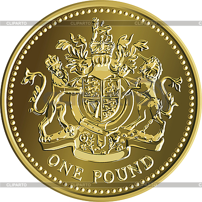 Британская монета один фунт | Векторный клипарт |ID 3128907