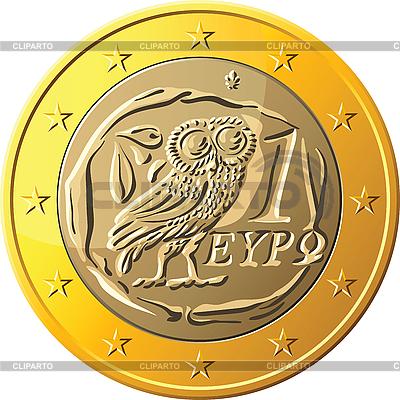 Greckie monety jedno euro wyposażone sowę | Klipart wektorowy |ID 3135802