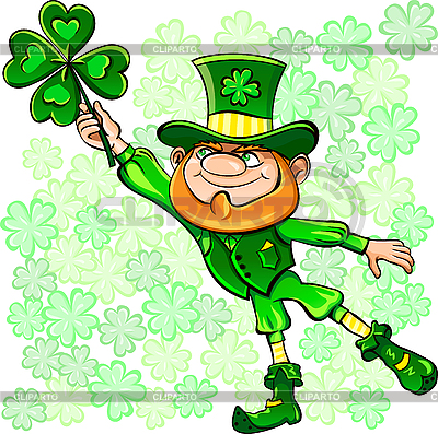 Leprechaun with leaf of clover | Stock Vector Graphics |ID 3155553