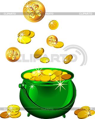 St. Patrick`s Day - grüner Topf mit Goldmünzen | Stock Vektorgrafik |ID 3162214