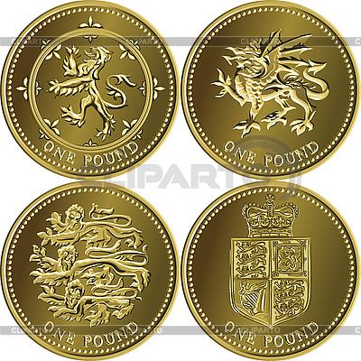 Zestaw monet brytyjskich jeden funt | Klipart wektorowy |ID 3207845