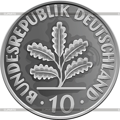 Germany Money silver coin with Oak Leaves | Stock Vector Graphics |ID 3216848