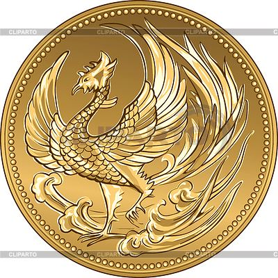 Japanese money gold coin with phoenix | Stock Vector Graphics |ID 3253658