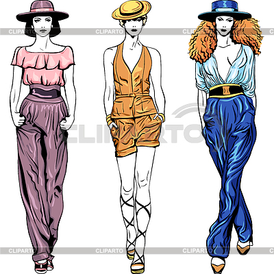 Fashion top models in trouser suits and hats | Stock Vector Graphics |ID 3257233