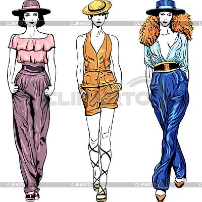 Moda top modelki w garniturach spodni i kapelusze | Klipart wektorowy |ID 3257233