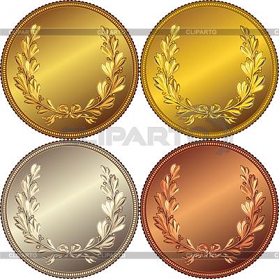 硬币与桂冠   向量插图  ID 3284376