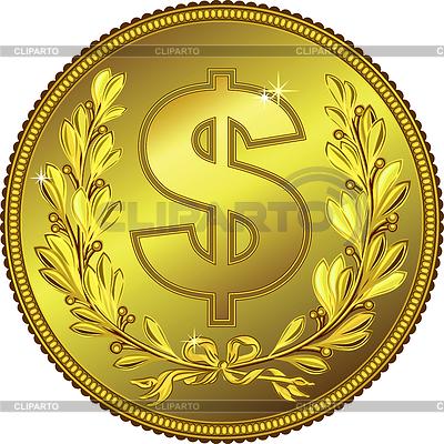 Gold Geld-Dollar-Münze | Stock Vektorgrafik |ID 3294995