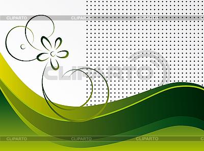 꽃과 추상 녹색 배경   벡터 클립 아트  ID 3055363