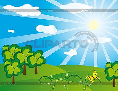 Зеленый пейзаж в солнечный день | Векторный клипарт |ID 3055391