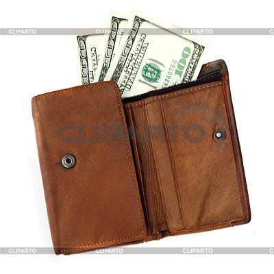 Braunes Leder-Geldbörse mit Dollarnoten | Foto mit hoher Auflösung |ID 3059090