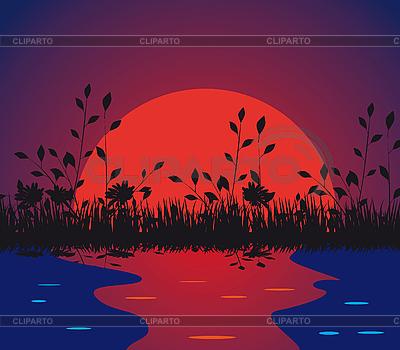 Natur gegen die untergehende Sonne | Stock Vektorgrafik |ID 3059566