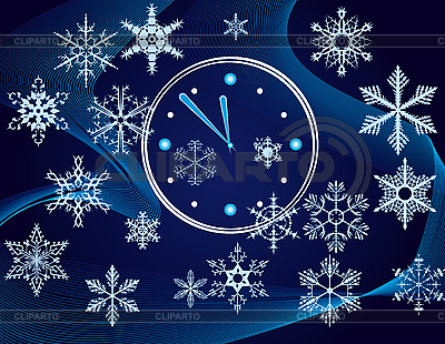 Christmas background with clock and snowflakes | Stock Vector Graphics |ID 3059773