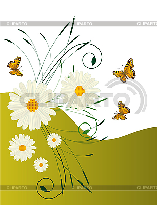 Card with daisies and butterflies | Stock Vector Graphics |ID 3059787