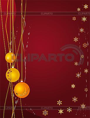 Rote Weihnachtskarte mit Kugeln | Stock Vektorgrafik |ID 3059834