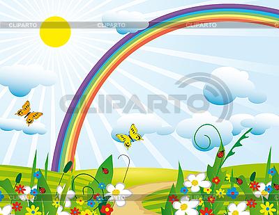 Rainbow over the flowering meadows | Klipart wektorowy |ID 3066929
