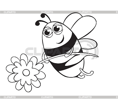 Bee with flower | Stock Vector Graphics |ID 3052546