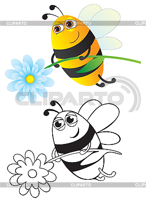 Bee with flower   Stock Vector Graphics  ID 3052552