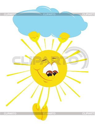 Cartoon sun under cloud | Stock Vector Graphics |ID 3052601