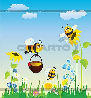 Łąka i pszczoły | Klipart wektorowy |ID 3052603