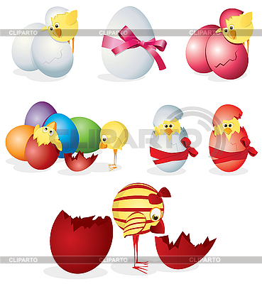 Set of easter eggs and chickens | Stock Vector Graphics |ID 3052621