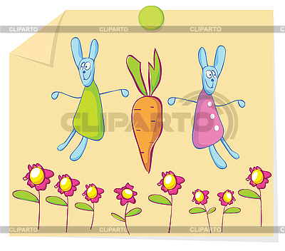 Kaninchen und Karotten | Stock Vektorgrafik |ID 3052657