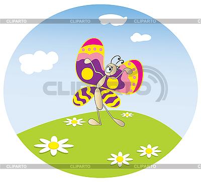 蝴蝶在草地上 | 向量插图 |ID 3052679