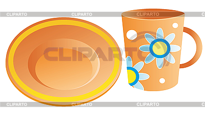 Plate and cup | Stock Vector Graphics |ID 3052911