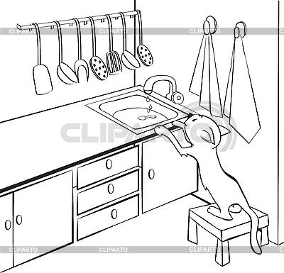 Kot w kuchni | Klipart wektorowy |ID 3052925