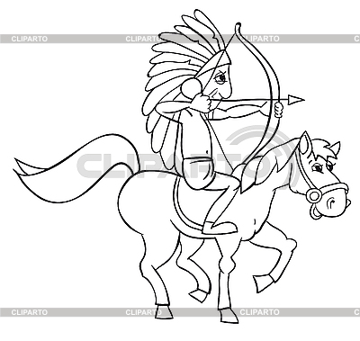 Indian and horse | Stock Vector Graphics |ID 3052951