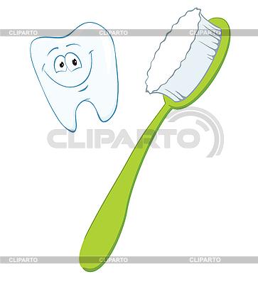 Szczoteczka do zębów i zębów | Klipart wektorowy |ID 3052997