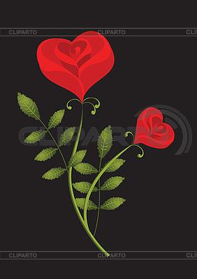 Stylizowane czerwone róże | Klipart wektorowy |ID 3053872