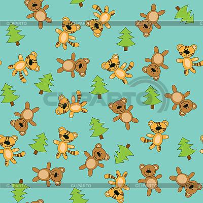 Nahtloser Hintergrund mit Bären und Tigern | Stock Vektorgrafik |ID 3053890