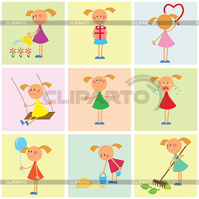 Background with girls | Stock Vector Graphics |ID 3053942