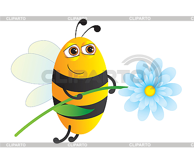 Bee with flower | Stock Vector Graphics |ID 3053988